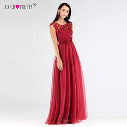 $enCountryForm.capitalKeyWord UK - Robe De Soiree Ever Pretty Hollow Out Lace Long Evening Dresses EZ07609 Tulle O-Neck Sleeveless Banquet Party Dress