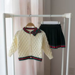 075fa454176 2019 new Autumn Winter sweater Girls Outfits bowknot Cardigan+pleated skirt  2pcs Kids Sets Fashion Dress Suits kids designer clothes A3870