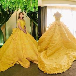 $enCountryForm.capitalKeyWord Australia - 2019 Ball Gown 3D Floral Appliques Quinceanera Dresses Yellow Off Shoulder Lace Saudi Arabic Vestidos De 16 Girls Evening Party Gowns
