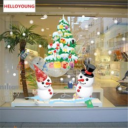 tree growth sticker Australia - The Shop Window Snowman Christmas Tree Wall Sticker Christmas Decorations For Home Christmas Window Sticker
