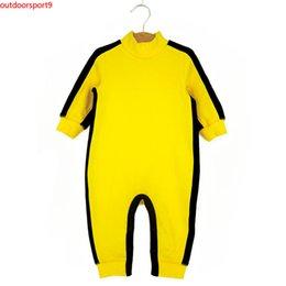 Опт Gongfu с длинным рукавом удобный простой желтый детские летние комбинезон хлопок комбинезон горячая мода новая детская одежда