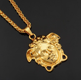 Wholesale Mens Hip Hop Long Necklace Jewelry Gold Chains Medusa Iced Out Necklace Diamond Pendant Designer Necklaces
