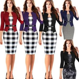 Women formal sleeve dresses online shopping - Career Ladies Formal Working Dress Plaid Slim Square Neck Patchwork Knee length Party Women Work Bodycon Pencil Dresses With Belt GGA1592