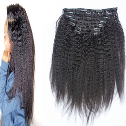 kinky coarse clip extensions Australia - Brazilian Kinky Straight Clip In Human Hair Extensions coarse yaki Virgin Hair 10 Pieces Set Natural Color 120g set