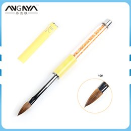 kolinsky sable brushes acrylic UK - wholesale 1PC Kolinsky Sable Acrylic Nail Art Brush Size#10 UV Gel Carving Pen Brush Liquid Powder DIY Nail Drawing Painting Tools