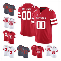 3ecd24892 Custom Houston Cougars mens Ed Oliver 10 Wilson Whitley 78 William Jackson  3 red white grey college football stitched jerseys