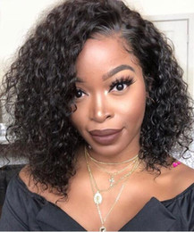 celebrity lace front wigs indian UK - Celebrity Wig Lace Front Wig Curly Bob Style Natural 10A Grade Mongolian Virgin Human Hair Full Lace Wigs for Black Women Free Shipping