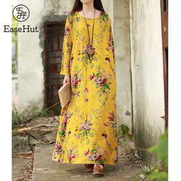 6d44c6e579a2 EaseHut 2019 New Vintage Women Maxi Floral Dress Plus Size Long Sleeves Pockets  O Neck Cotton Linen Loose Robe Dresses Vestidos