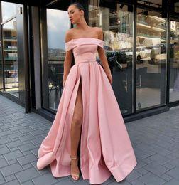 $enCountryForm.capitalKeyWord Canada - Hot Sale Side Split Prom Dresses Off The Shoulder A Line Evening Gowns Floor Length vestidos de fiesta Satin Plus Size Formal Dress
