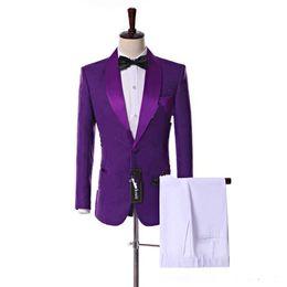 $enCountryForm.capitalKeyWord NZ - New Popular Side Vent One Button Purple Paisley Groom Tuxedos Shawl Lapel Slim Fit Groomsmen Wedding Men Party Suits (Jacket+Pants+Tie) 341