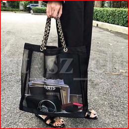 $enCountryForm.capitalKeyWord Australia - Famous Makeup Bag Black Mesh Shoulder Bag Net Style Cosmetic Handbag Beauty Clutch Bag Tote Shopping Beach Storage Bags