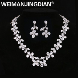 bridal gold earrings designs UK - WEIMANJINGDIAN Brand Top Quality Floral Design Clear Cubic Zirconia Wedding Jewelry Set Bridal Necklace and Earring Set