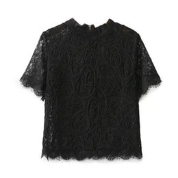 $enCountryForm.capitalKeyWord Australia - Sexy Lace Crochet Back Zipper T-shirt Short Sleeve O-neck Pullover Sweet Women Crop Tee Casual Tops 3 Colors Elegant Sy16-11-44 Q190524