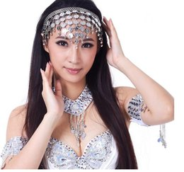 Discount costume jewelry diamonds - 1pcs lot free shipping Belly Dance Head costume Chains coin headband Imitate Diamond Decoration Dancing Jewelry hair acc