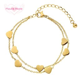Lobster Extension Chain Australia - Mavis Hare Stainless Steel Love Chain silver gold rose gold double layer Bracelet with Heart Charms 5cm extension chain