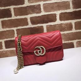 $enCountryForm.capitalKeyWord UK - 2019 Top Quality Brand design Letter Pearl Metal Buckle V-shaped Shoulder Chain Bag Cowhide Leather Woman 476809 Crossbody Bag