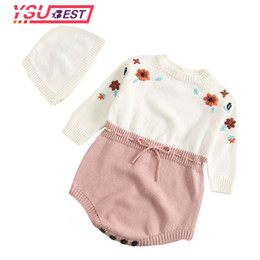 $enCountryForm.capitalKeyWord NZ - Baby Knitted Clothes Newborn Baby Girls Romper Embroidery Long Sleeve Woolen Pompom Infant Jumpsuit For Girls Overalls Clothes J190526