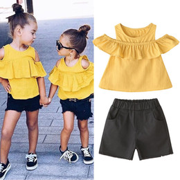 $enCountryForm.capitalKeyWord NZ - New children's clothing summer girls strapless wooden ear sleeves doll shirt shorts hot pants two-piece clothing set