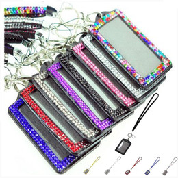 Lanyard badge verticaL online shopping - Rhinestone Bling Lanyard with Vertical PU ID Badge Card Holder and Key Chain Fashion Phone Strap for iphone x samsung S8 S9 s10 HUAWEI