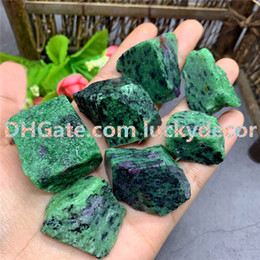 crystals souvenir Canada - 500g 20-40mm Random Size Irregular Natural Ruby Zoisite Epidote Raw Stones Mineral Rough Anyolite Crystal for Reiki Chakra Talisman Jewelry