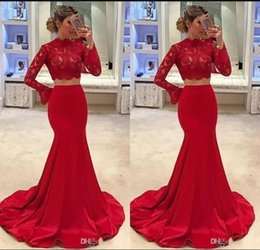 Fabulous Prom Dresses Australia - Fabulous Red Two Pieces Prom Dresses 2019 Mermaid Lace Cheap Formal Evening Gowns High Neck Long Sleeves Robe de soriee