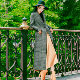 $enCountryForm.capitalKeyWord Australia - 2019 Spring Plaid Long Women Woolen Coat Turn-down Collar Outwear Clothing Wide-waisted Female Costume Gray Coats for Women