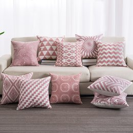 $enCountryForm.capitalKeyWord Australia - Pink Color Embroidered Pillow Case Cover Stripe Pattern Seat Pillowcases Decorative Throw Pillow Cover 45*45cm