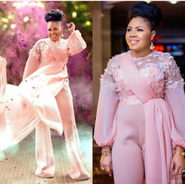 short pants flower black Canada - Pink 3D Floral Evening Jumpsuit with Train 2020 African Nigerian Long Sleeve Plus Size Chiffon Prom Gowns with Pant Suit