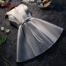 $enCountryForm.capitalKeyWord Australia - Silver Bridesmaid Dresses Short Knee Length Elegant Wedding Guest Dress New Years Eve Dress For Wedding Party For Women JQ28