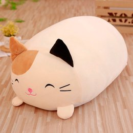wholesale stuffed animal cat Australia - 1Pc 30cm Doll Down Cat Pillow Plush Cushion Brinquedos With PP Cotton Stuffed Animal Plush Toys Dolls Kids Home Decoration