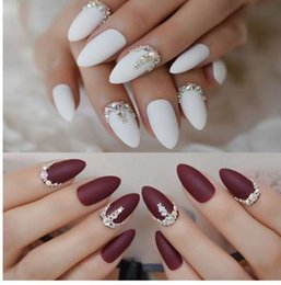 $enCountryForm.capitalKeyWord Australia - 3D Frosted Burgundy Matte Stiletto False Nails White 24pcs Amlond Sharp Fake Nails AB Gems Finished Pre Design Full Nail Tips