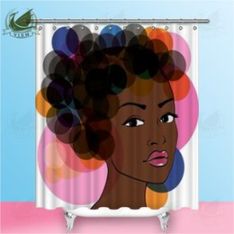 sexy african american hair Australia - Vixm African Sexy Woman With Creative Bubble Hair Shower Curtains Twilight Sky Waterproof Polyester Fabric Curtains For Home Decor