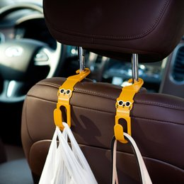 plastic car fasteners 2019 - 2Pcs Cartoon Cat Car Back Seat Hanger Holder Hooks For Bag Purse Cloth Sundries Auto Fastener Car Back Seat Headrest Cli