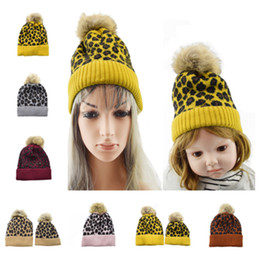 baby kids earflap hat Australia - hot family Beanies Leopard warm fleece Soft Skull Cap pom pom baby Knitted hats Faux fur ball winter knit kid Earflap Cap T2C5067
