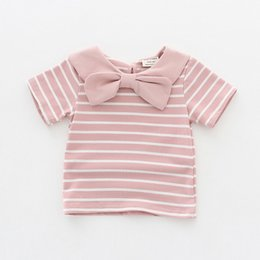 $enCountryForm.capitalKeyWord NZ - New 2018 Details Hot Sale Girls Short Sleeve Tops Children Cotton Striped T-shirt Bow Tie Collar Blouse Shirt for 1-5 Years