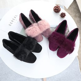 $enCountryForm.capitalKeyWord Australia - Women Rabbit Fur Loafers Winter Fleece Flats Shoes Shallow Slip on Slides Big Size Square Toe Shoes Black Red Pink Zapatos Mujer