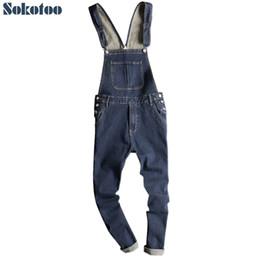 Fitted Denim Jumpsuit Australia - Sokotoo Men's dark blue denim bib overalls Slim fit jeans Casual pocket cargo pants Suspenders jumpsuits #345785