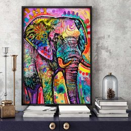 elephant canvas oil paintings abstract Australia - Modern Abstract Animal Oil Painting on Canvas Wall Art Picture Colorful Elephant Canvas Poster Prints Paintings For Home Decor
