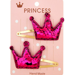 baby sequin hair clips wholesale Canada - New Fashion Baby Sequins Hair Clips Girls Fashion Pretty Star Heart Crown Design Princess Barrettes 15 colors Kids Cute Party Hairpins