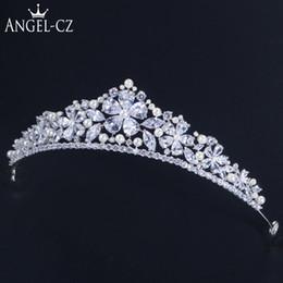 Big Pearl Tiaras Australia - ANGELCZ Gorgeous Bridal Wedding Pearl Hair Accessories Cubic Zirconia Queen Tiaras and Crown Big Flower Headband for Bride AH003