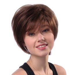 $enCountryForm.capitalKeyWord Australia - 11'' Woman Wigs Short Straight Brown Hairpiece Real Human Hair Heat Resistant Female Wig W5008