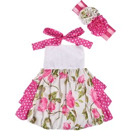 $enCountryForm.capitalKeyWord Australia - Lowest Price Pink Wholesale Summer Infant Baby Cotton Baby Girls Clothes Ruffle Romper With Headband