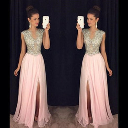 blush prom dresses beaded NZ - 2018 New Blush Pink Prom Dresses Luxury Beaded Chiffon Side Split Sleeveless Sweep Train Formal Evening Gown