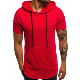 sudaderas de musculación al por mayor-2019 Hot Gym Men Clothing Stringer Hoodies Hoodies Summer Bodybuilding Tops Hombres Hombres Nuevo Slim Fit Solid Basic Muscle Sudaderas