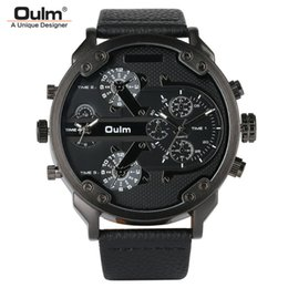 Genuine Military Wrist Watches Australia - Oulm Big Dial Quartz Watch Men Military Black Color Genuine Leather Band Casual Man Wrist Watches Luxury Unique Style Male Clock Y19051703