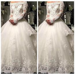 Red Long Dress Marriage Australia - Modest Lace Appliques A-Line Wedding Dresses With Detachable Train Long Custom 2019 Modest Bridal Gowns Middle East Vestidos De Marriage