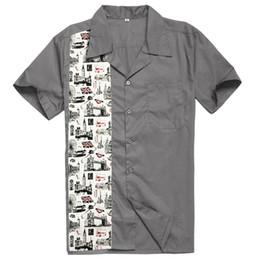 6c70ffd036 Camicie casual classiche anni 70 con stampa London Bridge Novità Maniche  corte uomo Rockabilly Hiphop Vintage