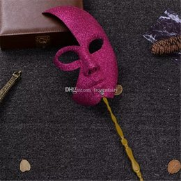 Men Mask Stick Australia - New Venetian Carnival Mask On A Stick Men and Women's Party Masquerade Masks Dress Up Cosplay Free Shipping aa24-931 2017122305