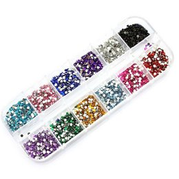 Nails Beads Australia - New Mix 12 Color 2mm Circle Beads Nail Art Tips Rhinestones Glitters Supplies Acrylic Uv Gel Gems Decoration With Hard Case