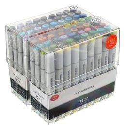 Ingrosso 72pcs Colori Artista Copic Sketch Markers Set Belle Pennini Doppia punta della penna Board Design marcatore penna per il disegno art Set